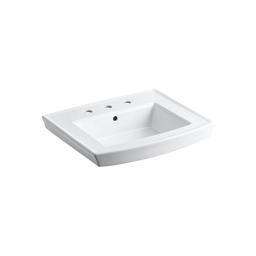 Archer(R) pedestal bathroom sink with 8 inch widespread faucet holes