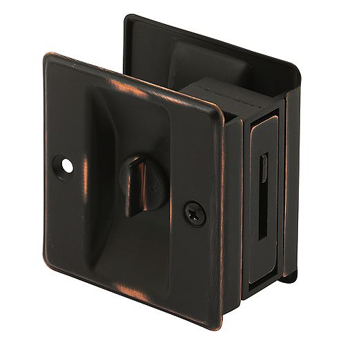 Pocket Door Privacy Lock and Pull, 2-3/4 in. tall, Classic Bronze