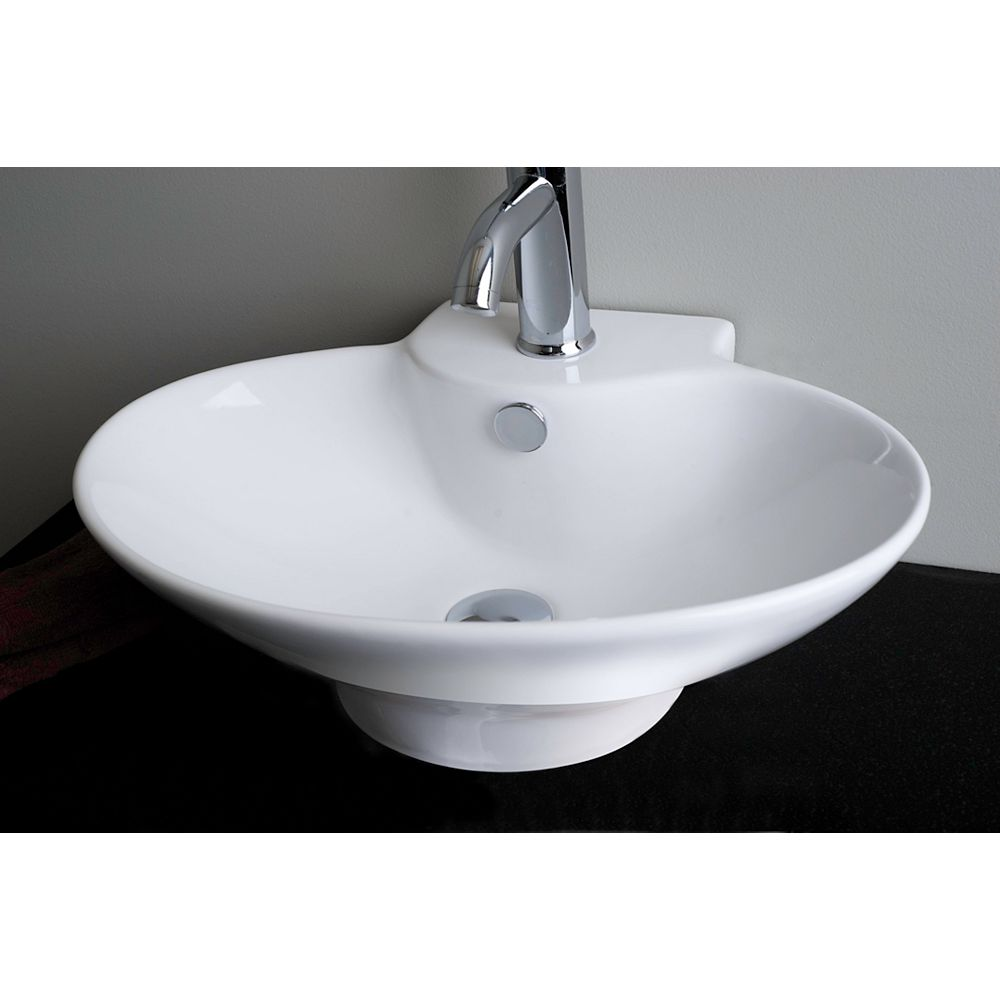 American Imaginations Oval Ceramic Vessel Sink in White