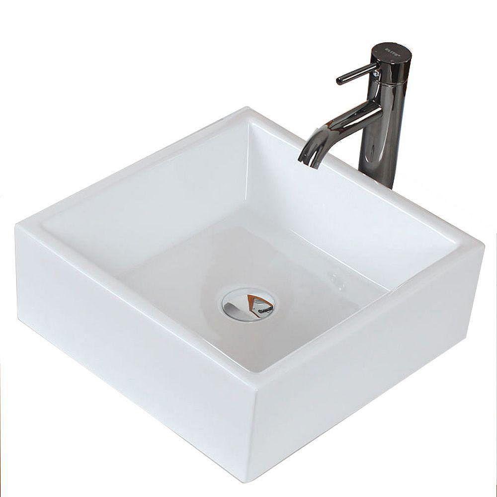 American Imaginations Square Ceramic Vessel Sink in White