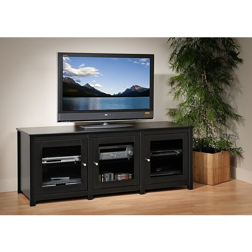 Black Santino Flat Panel Plasma / LCD TV Console with Glass Doors
