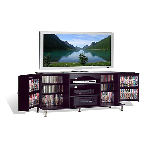 Premier Large Entertainment Console with Fold-Out Media Storage Cabinets in Black