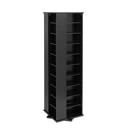 Large 4-Sided Spinning Media Storage Tower in Black