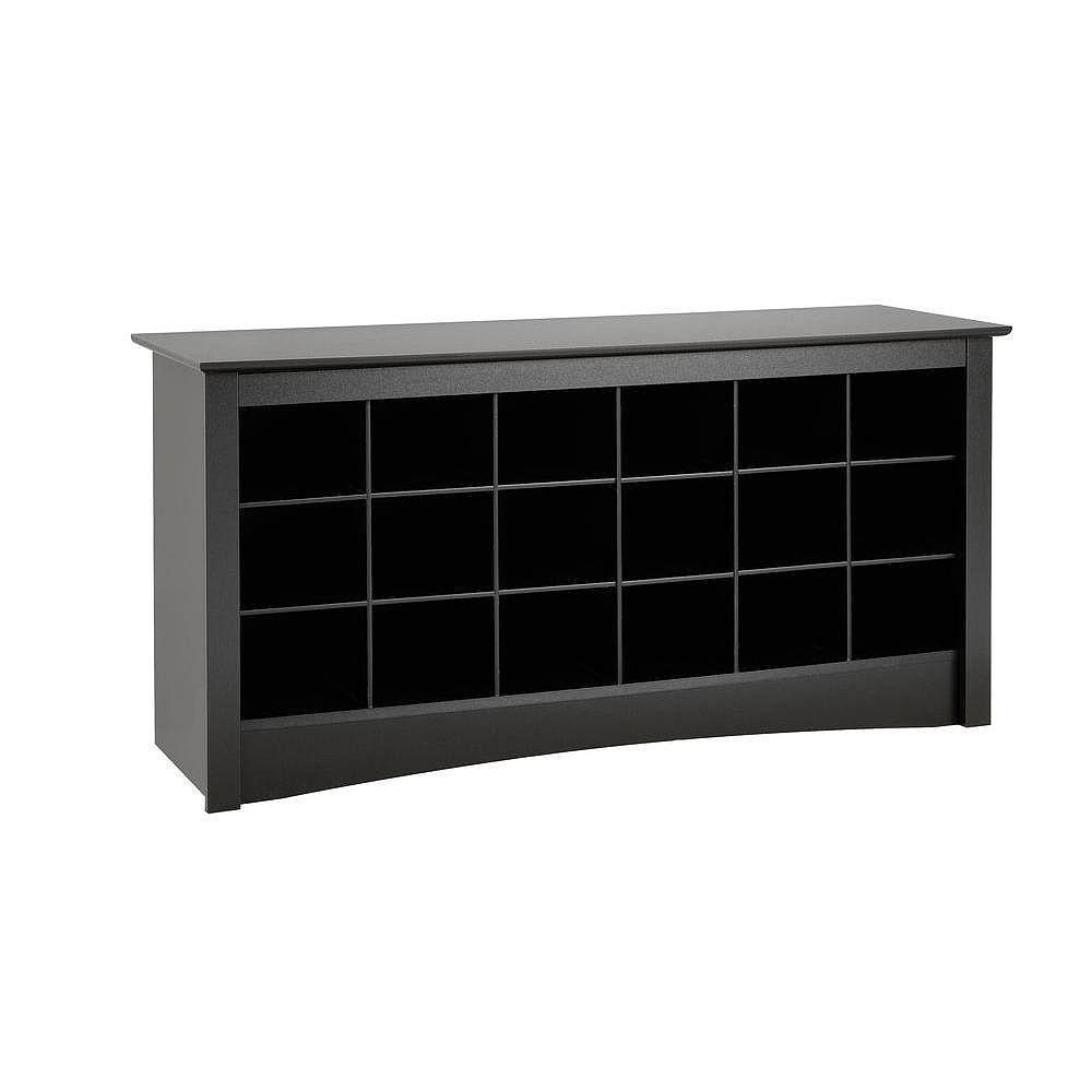 Prepac Shoe Storage Cubbie Bench in Black