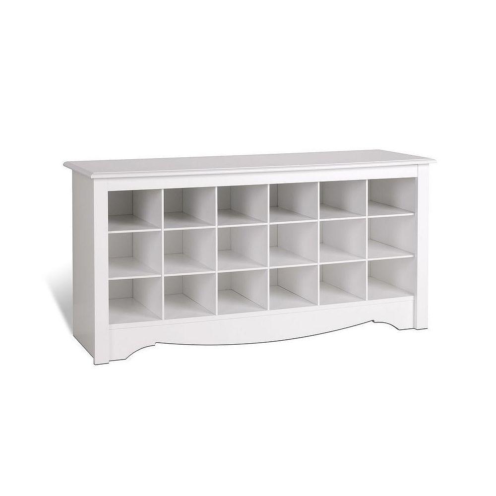 Prepac 48-inch Shoe Storage Cubby Bench in White