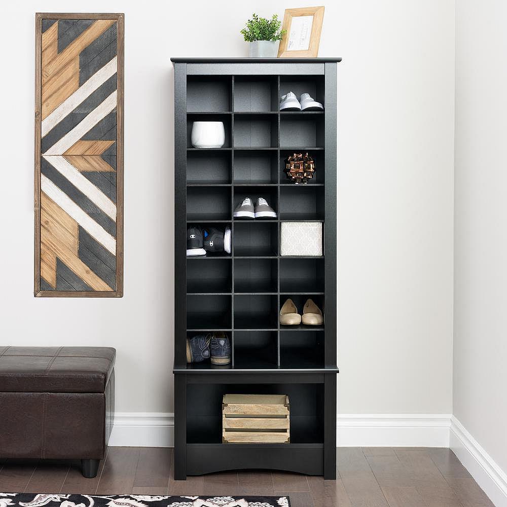 Prepac Grande armoire à compartiments pour chaussures, noire