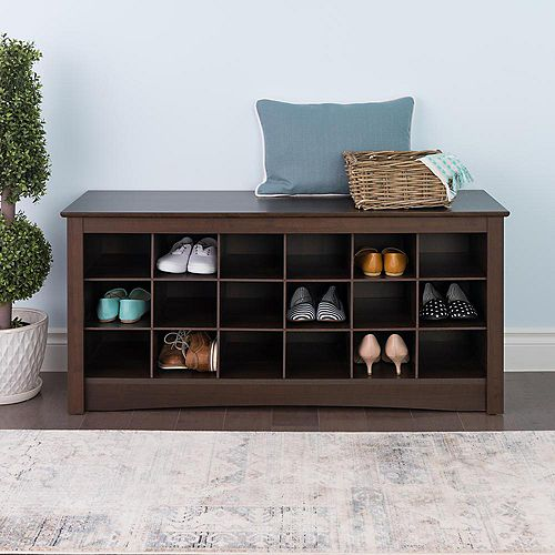 48-inch Shoe Storage Cubby Bench in Espresso