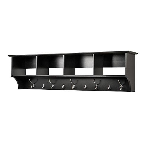 Black 60 Inch Wide Hanging Entryway Shelf