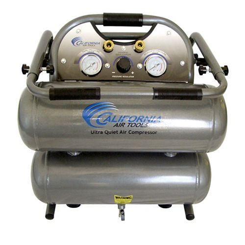 4620C  2.0 HP  4.6 Gal Ultra Quiet & Oil-Free Steel Twin Tank Air Compressor with Cart
