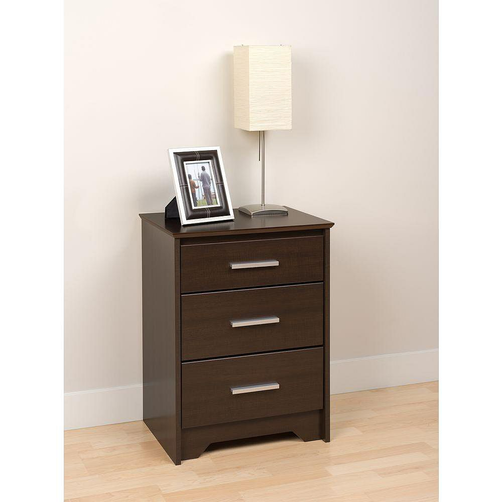 Prepac Coal Harbour 20.5-inch x 27-inch x 15.75-inch 3-Drawer Nightstand in Espresso