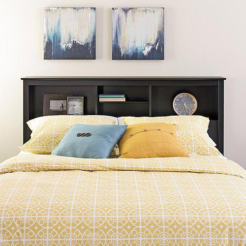 Dossier de lit à compartiments pour lit double ou grand lit, noir