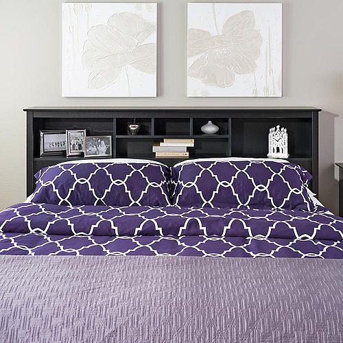 Dossier de lit à compartiments pour très grand lit, noir