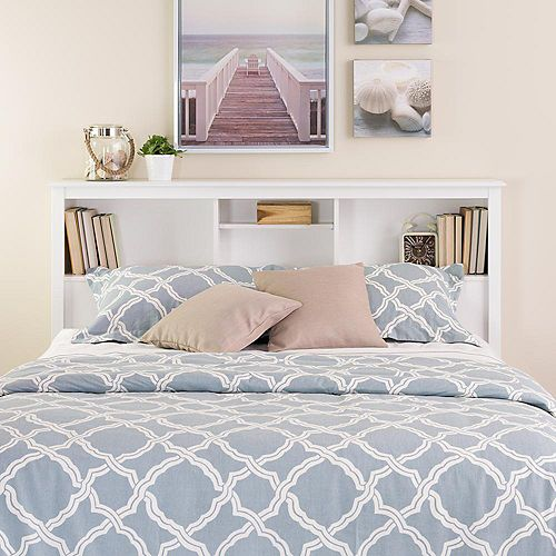 Wood Laminate Full/Queen Headboard Bookcase with Adjustable Shelf in White