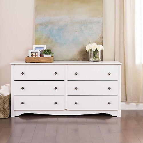 Commode à 6tiroirs Monterey, 60po x 29po x 16po, blanc