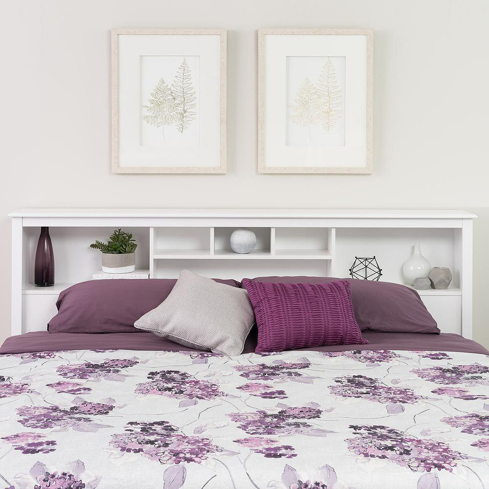 Prepac Dossier de lit à compartiments pour très grand lit, fini cerisier