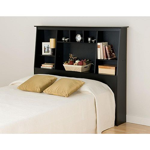 Black Full/Queen Tall Slant-Back Bookcase Headboard
