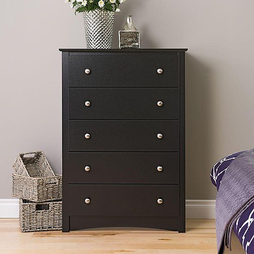 Sonoma 31.5-inch x 45.25-inch x 16-inch 5-Drawer Dresser in Black