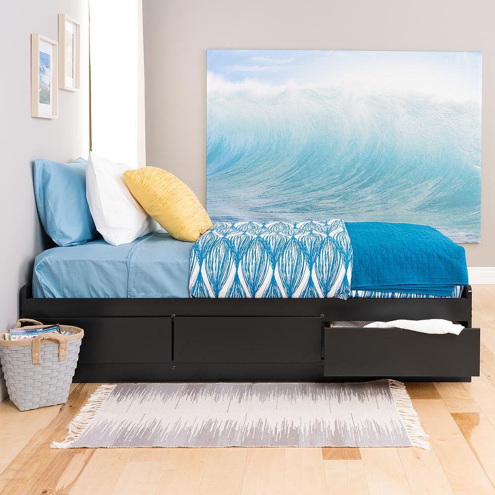 Prepac Base de lit matelot simple à trois tiroirs, noire