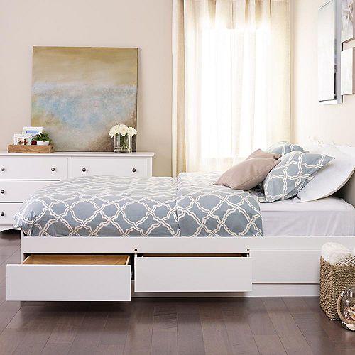 Base de lit matelot simple à trois tiroirs, blanche