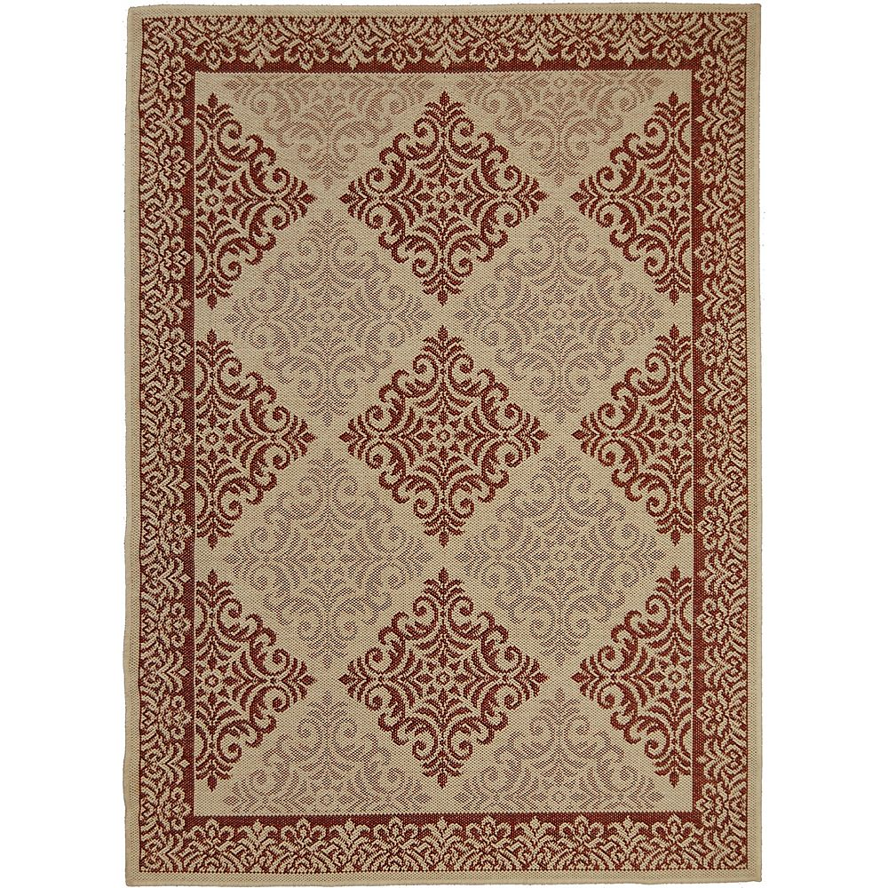 Multy Home Damask Beige Tan 5 ft. 2-inch x 6 ft. 7-inch Rectangular Area Rug