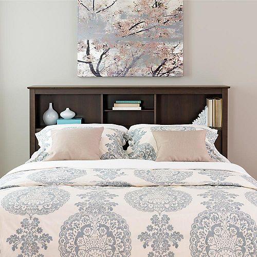 Tête de lit-bibliothèque pour grands lits ou lits à deuxplaces, fini espresso