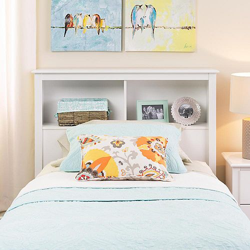 Solid Wood Twin Headboard with Bookcase in White