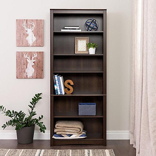 6-Shelf Bookcase in Espresso