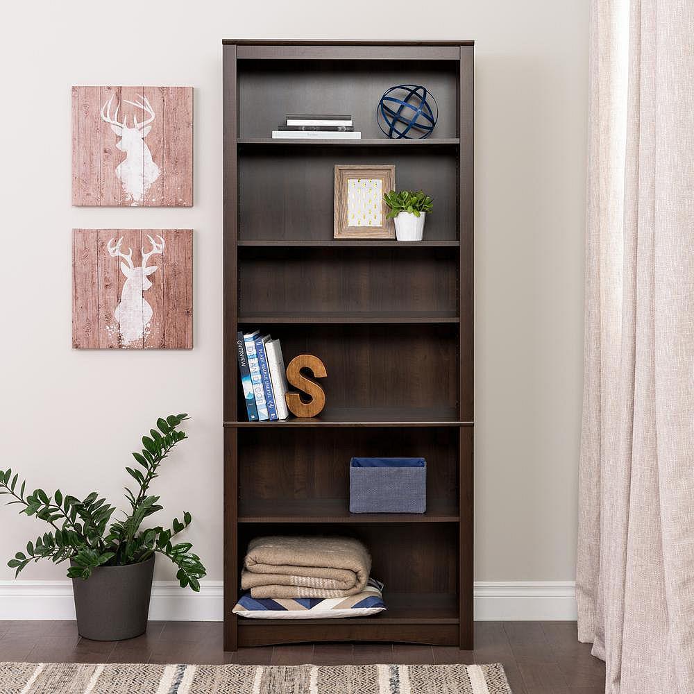 Prepac 6-Shelf Bookcase in Espresso