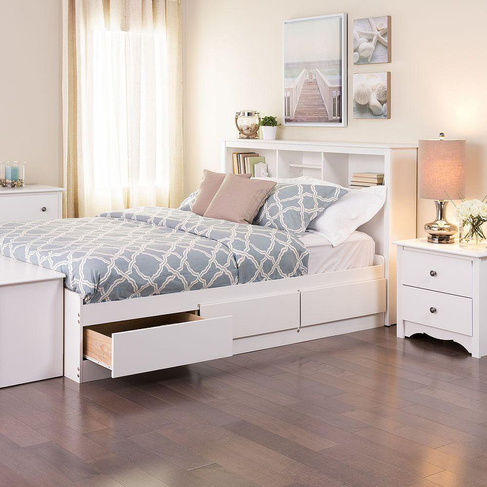 prepac white full mate's platform storage bed with 6