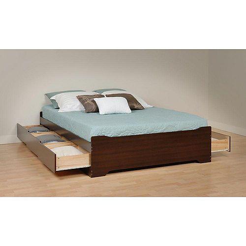 Base de lit matelot double à six tiroirs, expresso