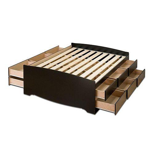 Base de lit capitaine haute à douze tiroirs, pour grand lit, noire