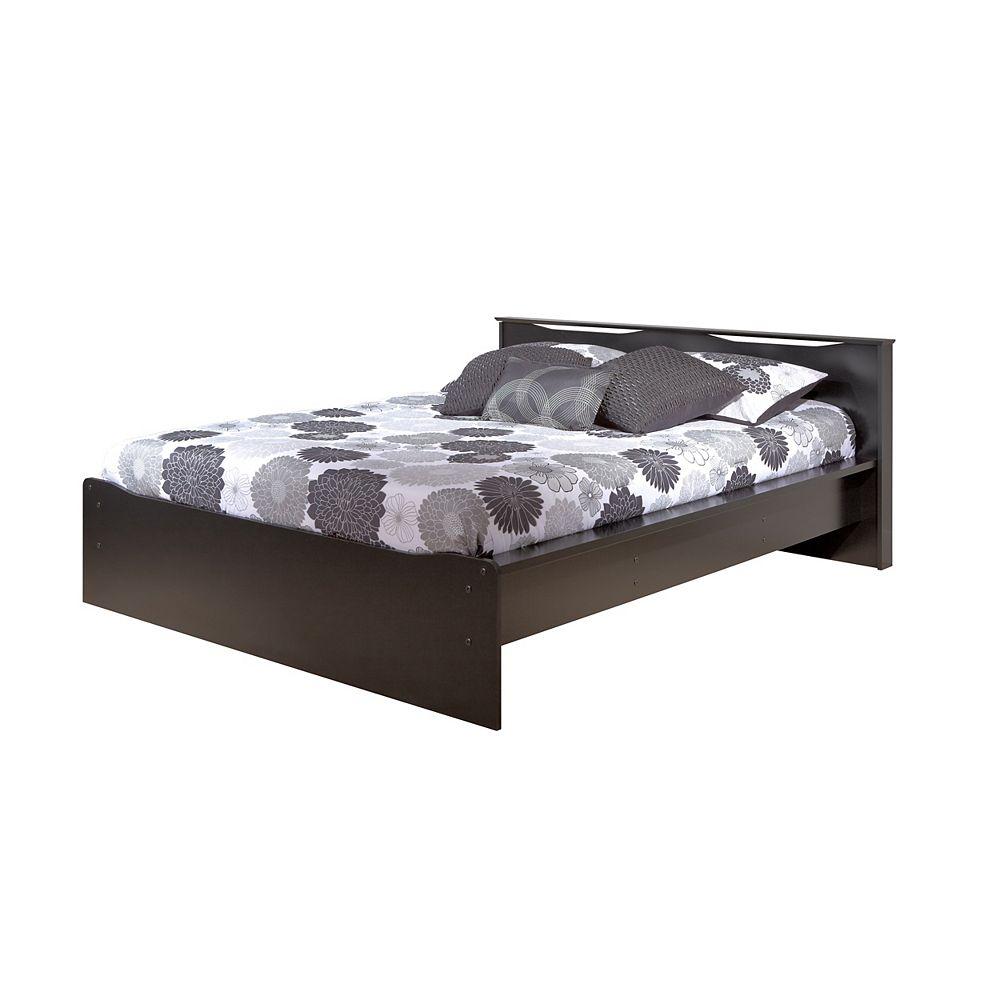 Prepac Base de lit plateforme Coal Harbor grand format avec dossier intégré, noire. Vient en 2 emballages.