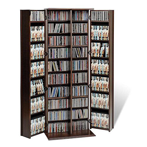 Très grand meuble de rangement multimédia verrouillable avec portes de style Shaker, expresso