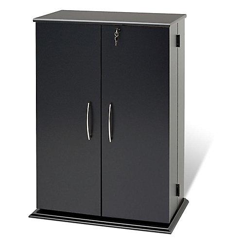Meuble de rangement multimédia verrouillable, noir