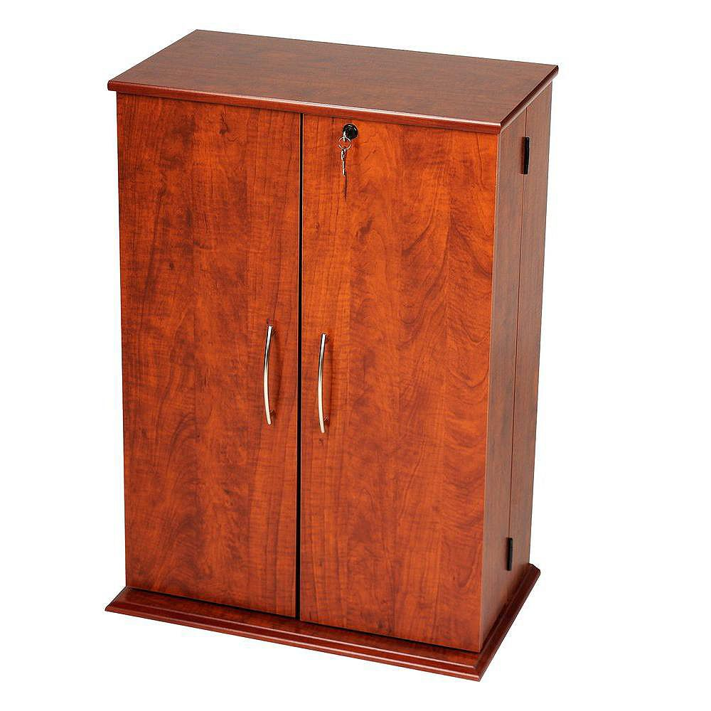 Prepac Cherry & Black Locking Media Storage Cabinet