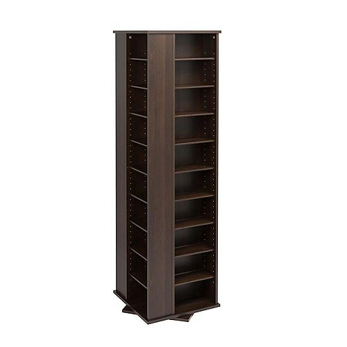 Large 4-Sided Spinning Media Storage Tower in Espresso