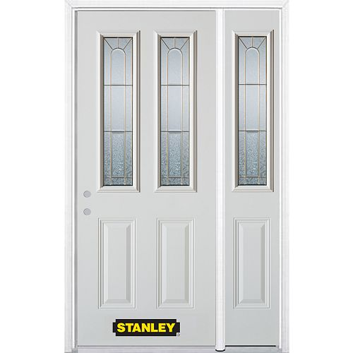 STANLEY Doors 48.25 inch x 82.375 inch Elisabeth Brass 2-Lite 2-Panel Prefinished White Right-Hand Inswing Steel Prehung Front Door with Sidelite and Brickmould - ENERGY STAR®