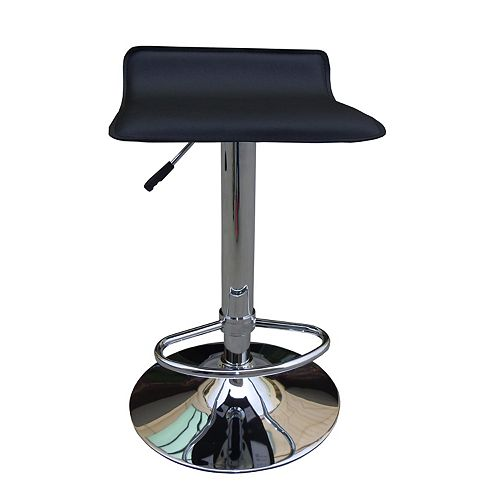 HDG Solid Wood Black Contemporary Low Back Armless Bar Stool with Black Faux Leather Seat