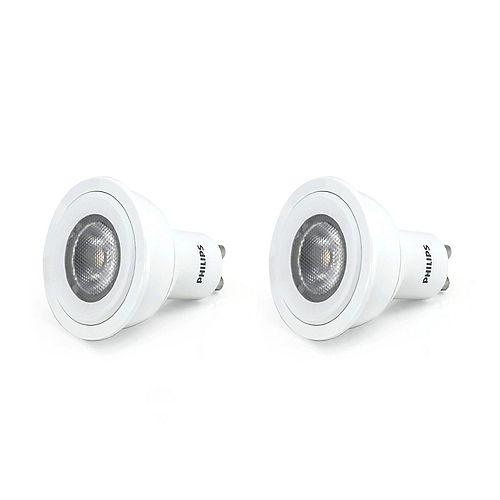 Philips Ampoule DEL GU10, 4 W, blanc brillant, ens. de 2