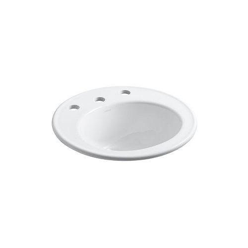 KOHLER Lavabo de salle de bain encastre Caxton, 19 po de diametre, avec trous pour robinet deploye de 8 po