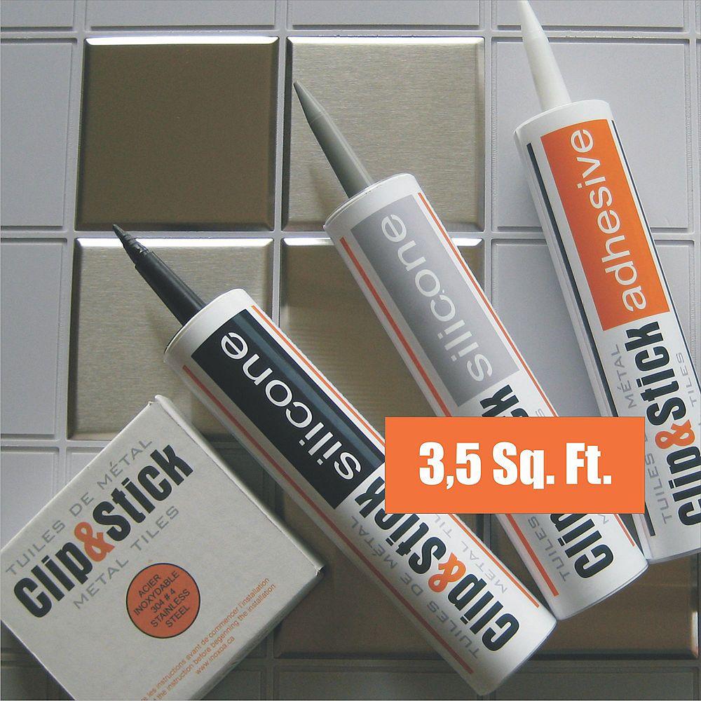Inoxia Clips&Stick Tuiles D'acier Inoxydable Trousse De 3,5 Pieds Carrés Matrices d'Ancrage Grises