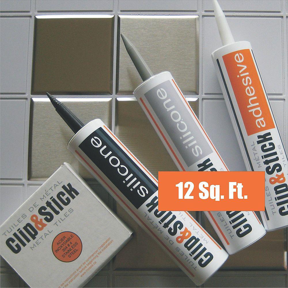 Inoxia Clips&Stick Tuiles D'acier Inoxydable Trousse De 12 Pieds Carrés Matrices d'Ancrage Noires