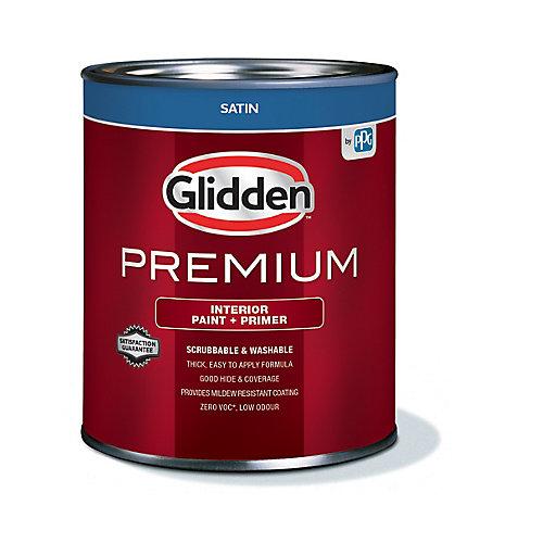 Premium Interior Paint + Primer Satin White 925 mL