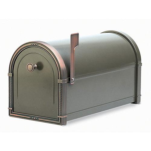 Boîte aux lettres Coronado bronze avec ornementations en cuivre patiné, à montage sur piédestal