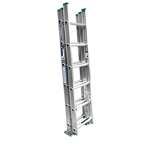 16 Feet. Aluminum 3 Section Compact Extension Ladder 225 lbs. Load Capacity (Type II Duty Rating)