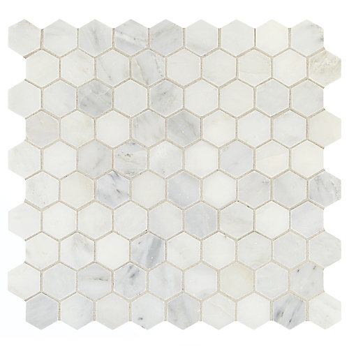 Carreau de mosaïque hexagonale en pierre mélange WhiteLux AddisonPlace