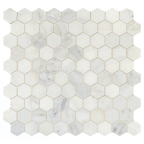Addison Place 11 3/4-inch x 12 7/8-inch x 8 mm Hexagon Stone Blend Mosaic Tile in White Lux