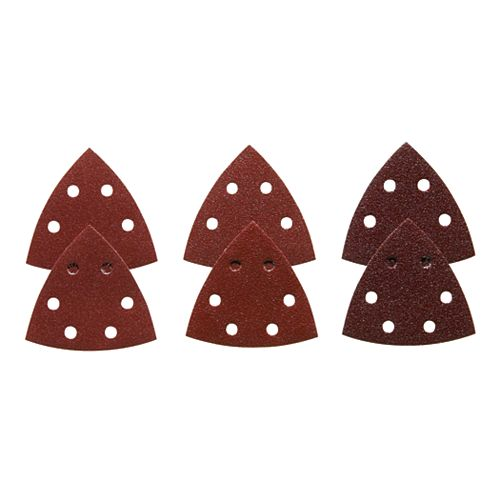 3-1/2 In. Assorted Grits 6 pc. Red Detail Sander Abrasive Triangles for Wood