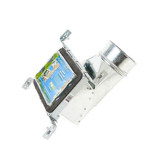 Bouche d'aération avec registre à 90 degrés et fixations réglables pour conduit de CVCA 4 po x 8 po x 5 po