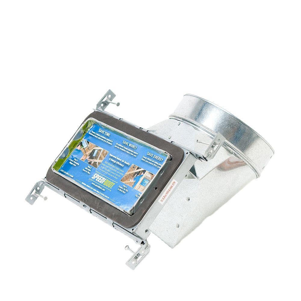 Speedi-Boot Bouche d'aération avec registre à 90 degrés et fixations réglables pour conduit de CVCA 4 po x 10 po x 5 po